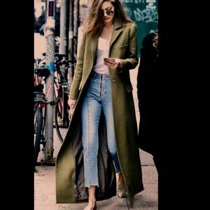 Dark green maxi longline duster coat jacket trench